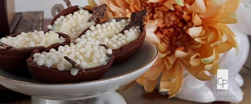 mesa de chocolate para a Páscoa