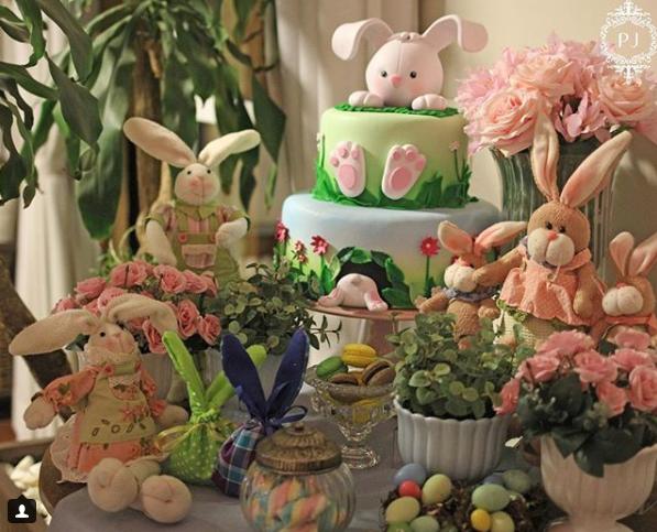 mesa de aniversário com tema Páscoa