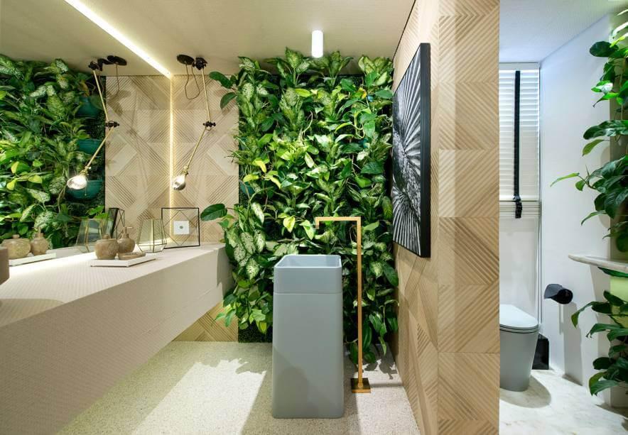 lavabo com plantas na Casacor CE