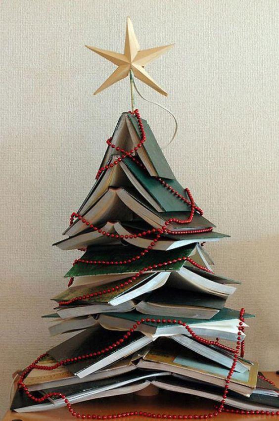 dicas natalinas : arvore de natal de livros