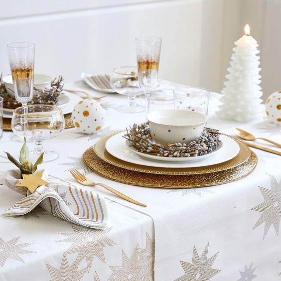 dicas natalinas : mesa posta natal branca e dourada