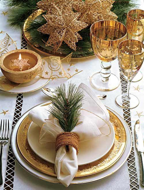 dicas natalinas : mesa posta de natal dourada