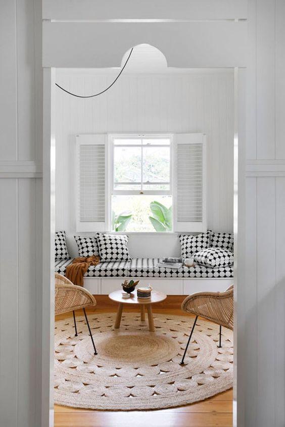 tapete natural na sala para decoração de verão