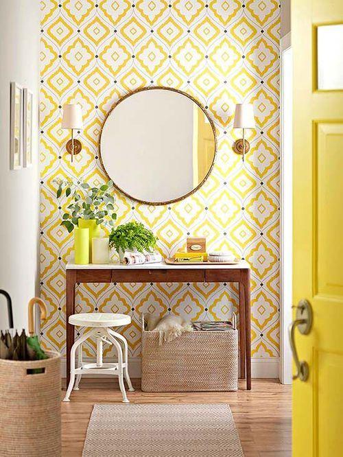 hall de entrada colorido e com espel
