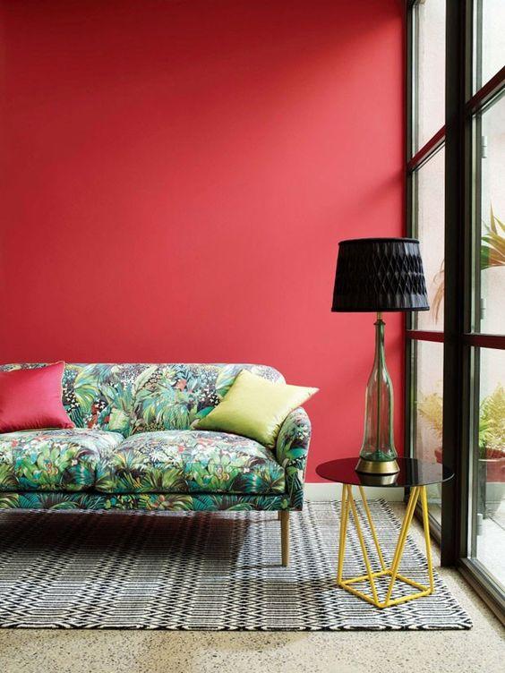 Sala de estar com estampas de mesma tonalidade