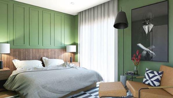 quarto de casal com boisorie verde