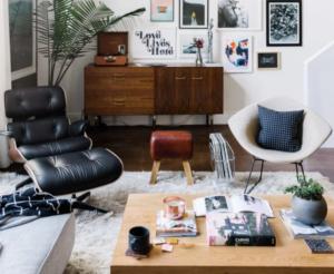 sala de estar com vitrola
