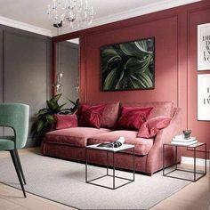 Sala de estar com parede vermelha