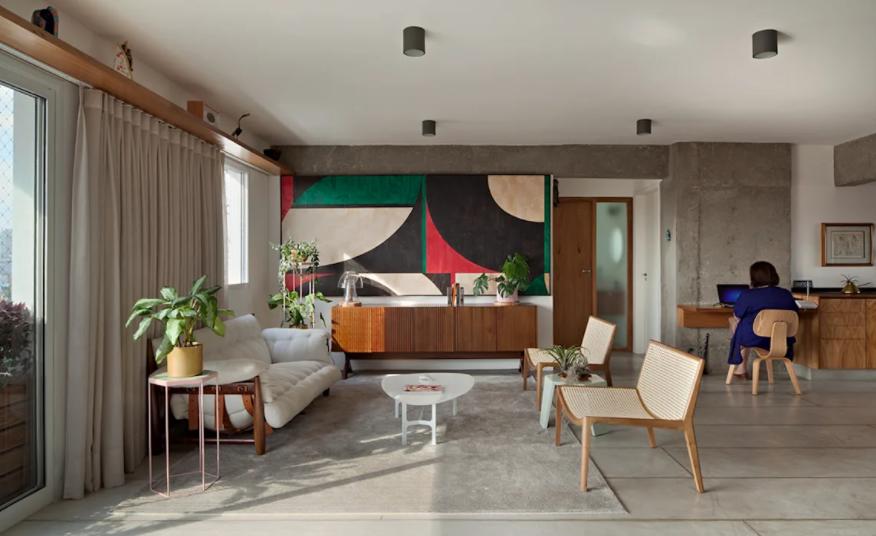 Sala com piso de concreto polido